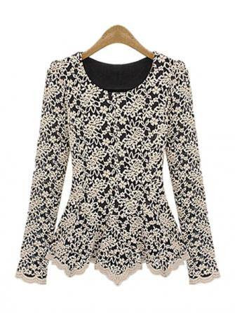 Women Lace Hollow Blouse Slim Long Sleeve Elegant Shirt