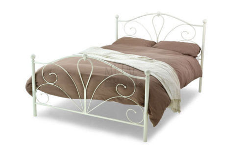 Black Or Ivory Metal Bed Frame Single Double 3ft 4 Foot 6 New