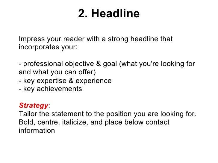 Best Cv Headline Examples Best Resume Examples