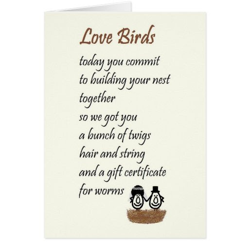 Love Birds - a funny wedding poem Cards
