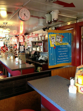 Interior of the Red Arrow Diner at 61 Lowell Street in Manchester, New Hampshire.