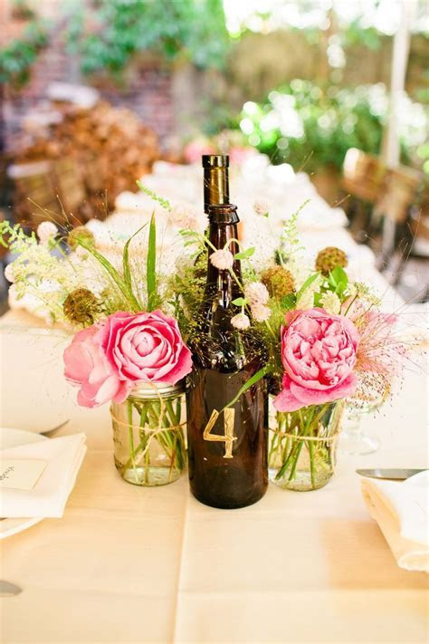 Wine Bottle and Mason Jar Centerpieces   Wedding flowers