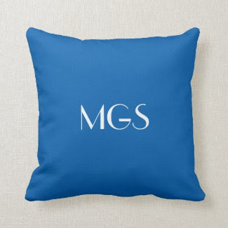Blue Monogram Throw Pillow