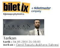 Tarkan show at Harbiye from Biletix