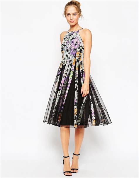 ASOS Mesh Fit And Flare Midi Dress in Dark Floral Print