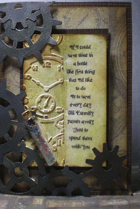 Time In A Bottle Steampunk Anniversary Card