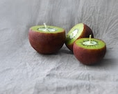 Kiwi Candles Hand Painted Ball Candles Set Of 3 Home Decor - LessCandles