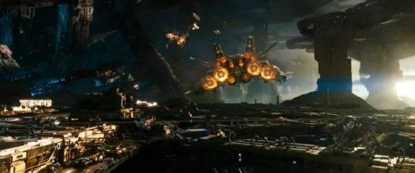 With Sentinel Prime aboard, the Ark attempts to flee Cybertron in TRANSFORMERS: DARK OF THE MOON.
