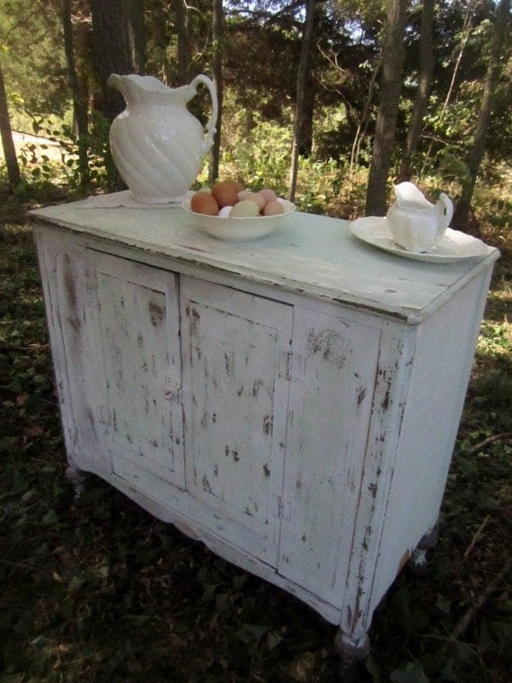 Antique Farmhouse Cabinet - Aged Blue and Cream