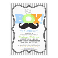 Oh Boy Mustache Baby Shower Card