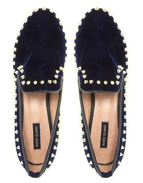Image 3 ofRiver Island Navy Velvet Stud Slipper Shoes
