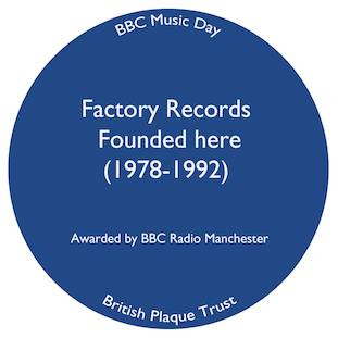 Factory was founded here 1978 - blue plaque on 86 Palatine Road, Manchester