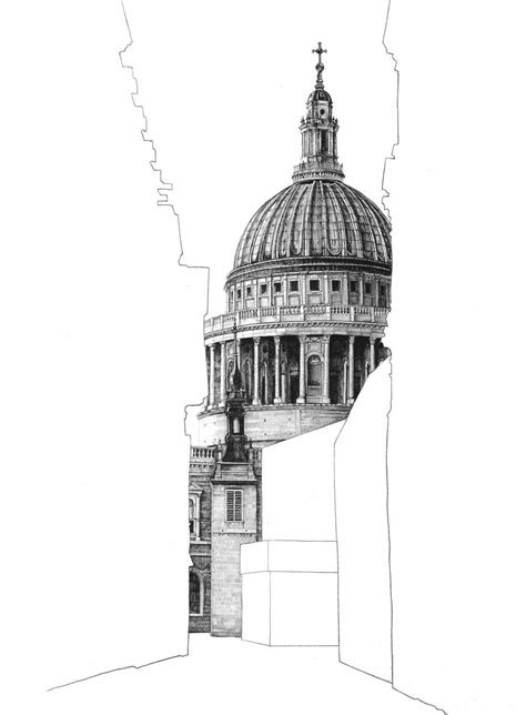 architectural drawings  empty building silhouettes