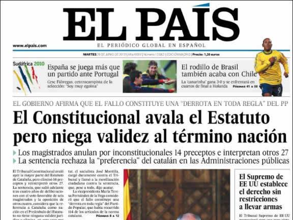 """La interpretació d'""""El País"""": en general el Constitucional avala l'Estatut però no el terme """"nació"""". (Font: kiosko.net)"""