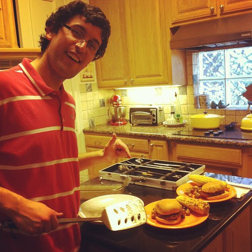 Grill Master! #wfd burgers, roasted pee wees, and grilled corn