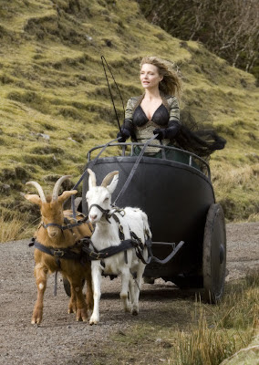 Michelle Pfeiffer with two goats