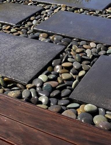 Concrete and River Rocks