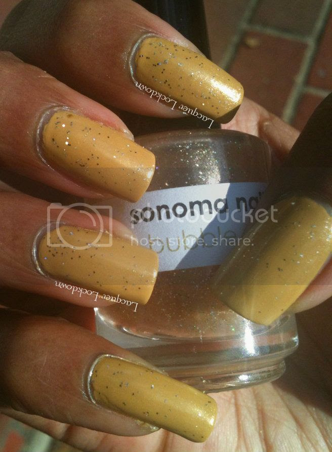 Lacquer Lockdown - Loreal The Perfect Trench, swatch, Sonoma Nail Art Bubble Room, indie polish, glitter polish, nail art,