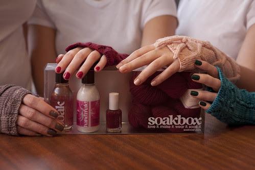 Soak fingerless glove kits with matching soak wash, handcream, and nail polish