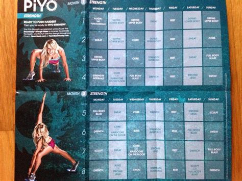 piyo strength workout calendar working  pinterest