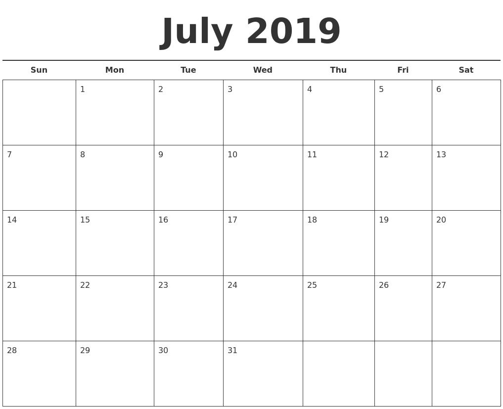 july 2019 free calendar template