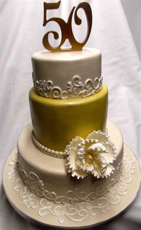 Gold and Elegant 50th Anniversary Cake Decoration Idea