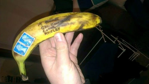 Banana delivered by Royal Mail