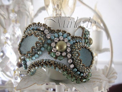 Bead embroidered cuff bracelet made from Sea Glass and Swarovski - Mirlady