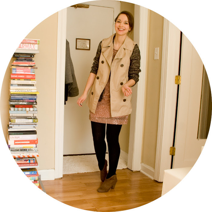 dash dot dotty, an outfit blog, ootd, sequins, marled, trench vest, winter layers, sweater tights, target suede booties