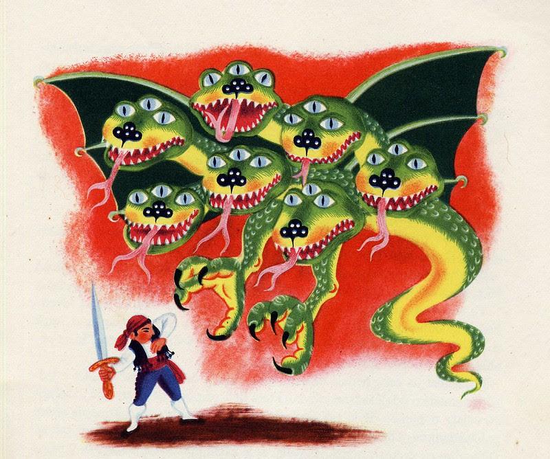 "Helena Zmatlíková - Illustration for Vitezslav Kocourek's ""The Tale Around The World"" Prague, 1957 (1)"