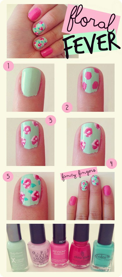 how to do a floral mani