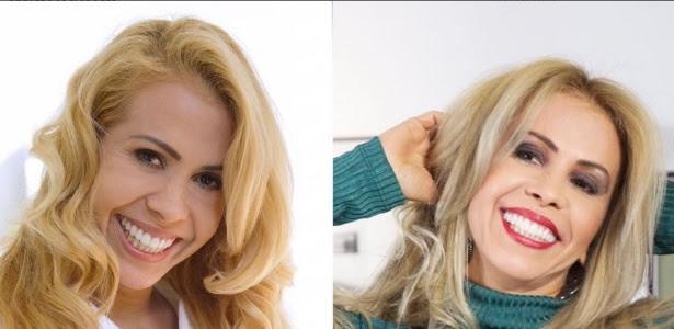 Joelma muda visual e aparece loira platinada (direita)