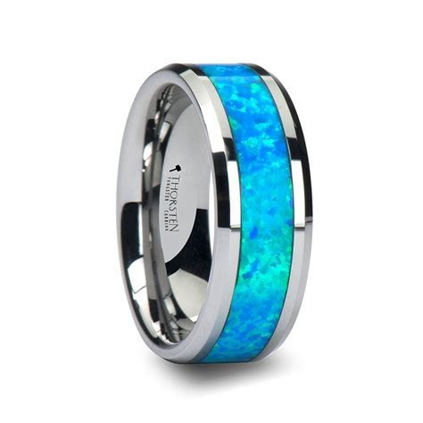 CAESAR Men's Tungsten Wedding Band with Opal Inlay