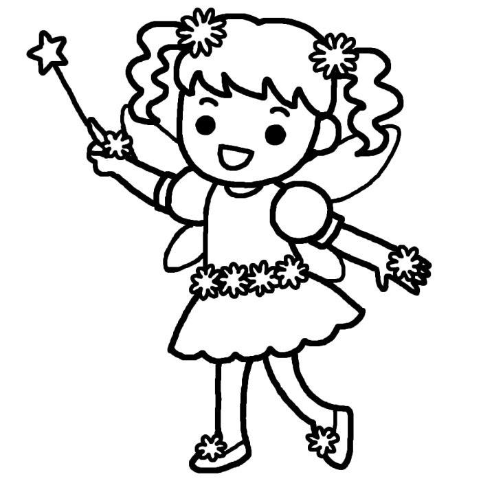 花の妖精白黒発表会おゆうぎ会の無料イラスト秋の季節行事保育素材
