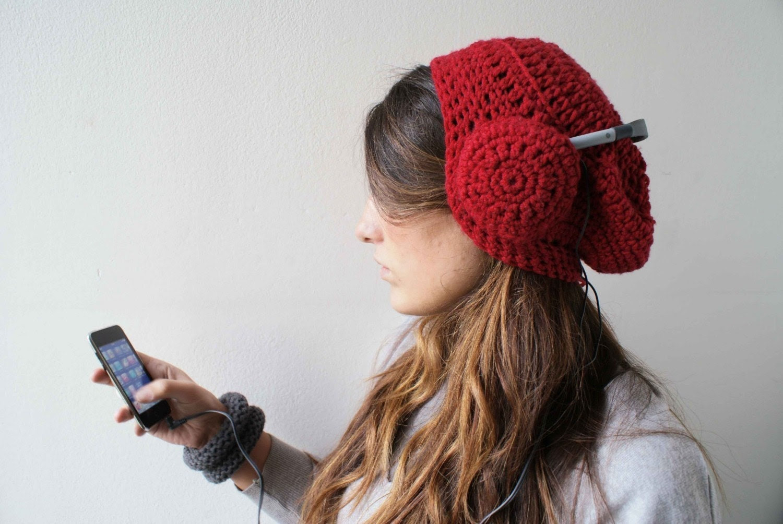 Head phones hat. Lipstick red. Custom order