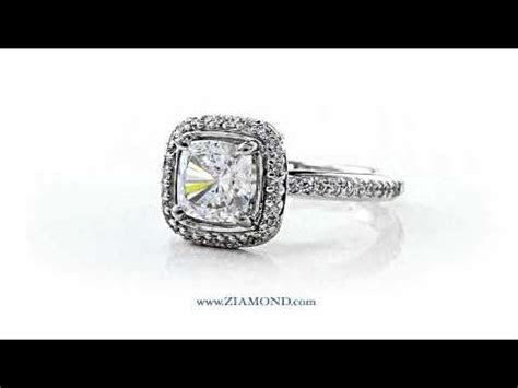 Cubic Zirconia CZ 1.5 Carat Cushion Cut Square Halo Pave