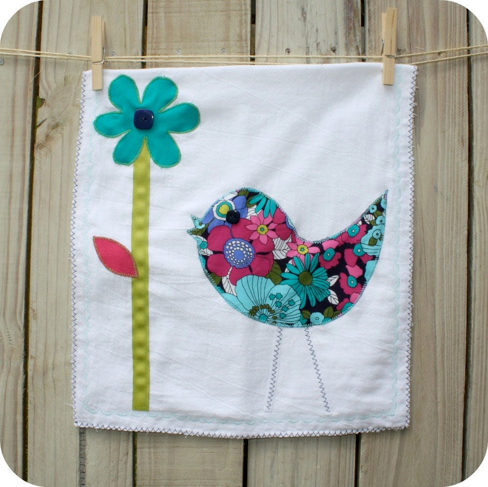 Dish Towel - Towel that is brighter than summer - A Birdie and Flower Dish Towel