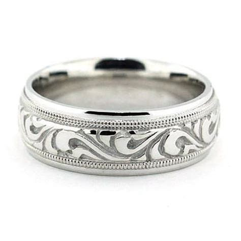 Best Selling Men's Carved Wedding Band   Paisley