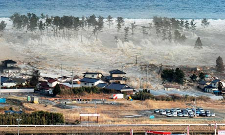 tsunami wave hits Japan