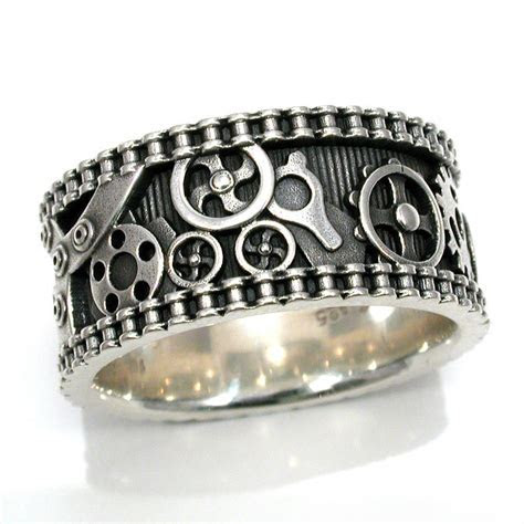 Mens Bike Chain Gear Ring Steampunk Sterling Silver Mens