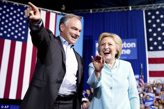 Kaine and Clinton arrived to great fanfare after showing up at today's rally in Miami
