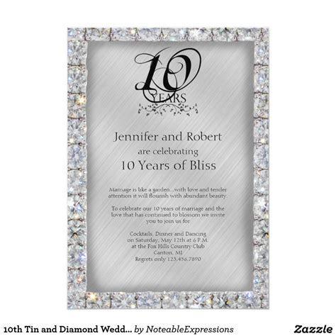 #10th Tin and Diamond #Wedding #Anniversary 5x7 Paper #
