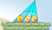 Problema de Geometría 935 (English ESL): Triangulo, Cevianas, Circunferencias Inscritas Iguales