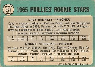 #521 Phillies Rookie Stars: Dave Bennett and Morrie Steevens (back)