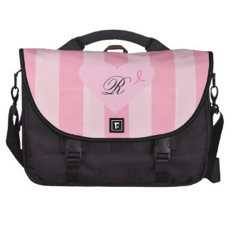 Monogrammed Pink Awareness Ribbon Heart Commuter Bags