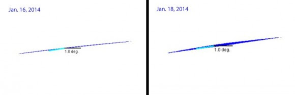 A slivery ISON on Jan. 16 widens a bit two days later in Pilz's simulations. Credit: Uwe Pilz