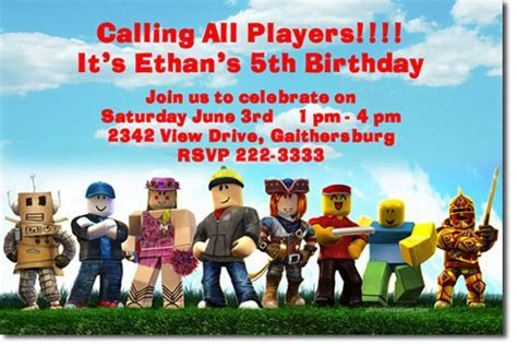 Roblox Birthday Invitations, Candy Wrappers, Thank You