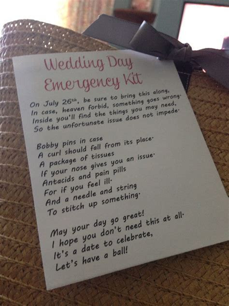 Wedding day emergency kit poem   Gift Ideas in 2019