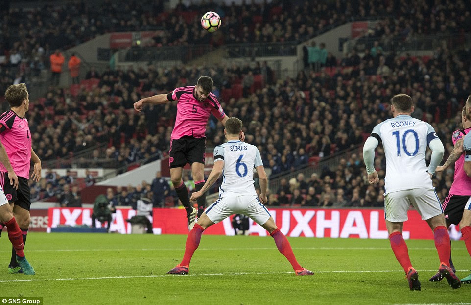 Hanley heads over having been left unmarked by Stones, as Scotland threatened from set pieces in their quest to equalise