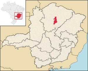 Map locator of Minas Gerais's Montes Claros city